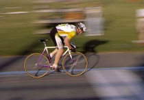 Panning Shot of a Bicycle Racer