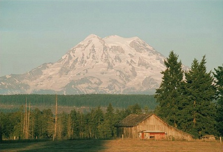 Rule of Thirds and Photography of a Barn Near Mt. Rainier