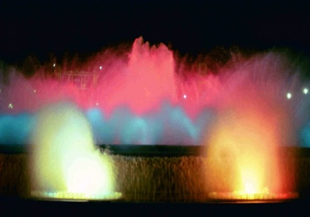 Colourful fountains