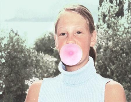 Nina blowing bubbles