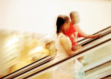 Panning on the escalator -- Galleria, N. Dallas