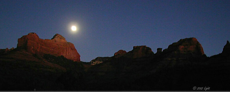 Sunset on Sedona (AZ) Red Rocks with Moon
