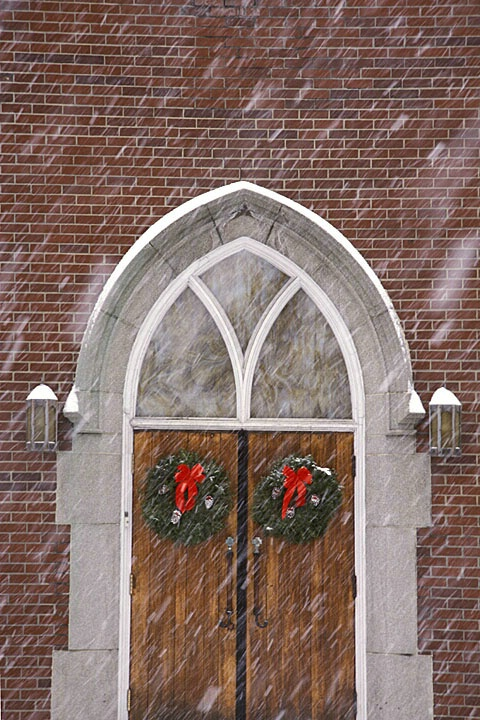 Church door in snow
