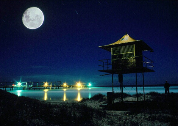 Beach Tower Moonlit