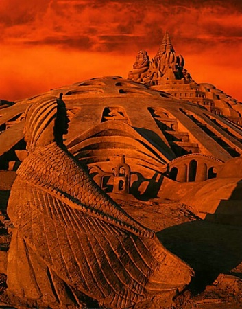 Sand Castle at Sunset