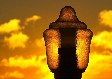 Sun Behind the Lamp Post