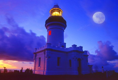 Byron Light House with Full Moon