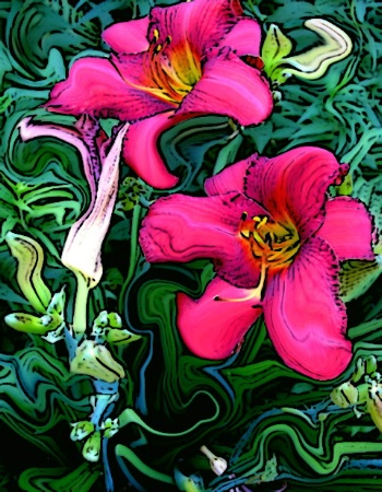 Red Daylily Art