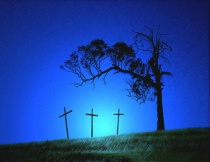 Three Crosses at Twilight