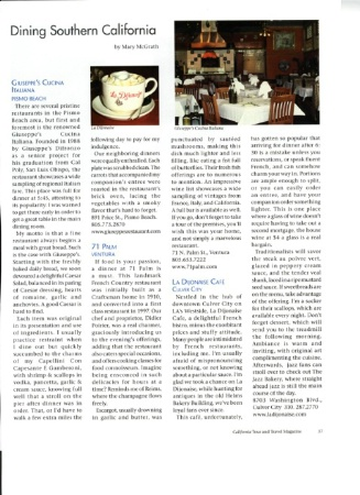 Dining Column-California Tour and Travel