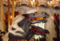 grey carousel horses
