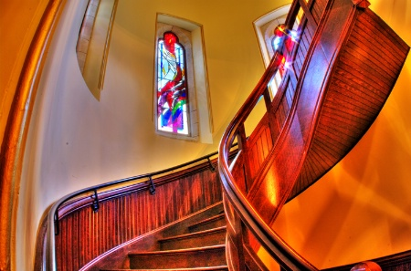 Stained Glass and Staircase