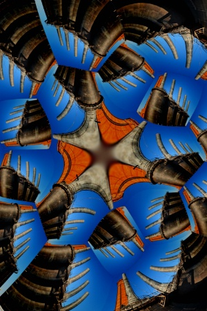 ABSTRACT IN BLUE, ORANGE AND BROWN