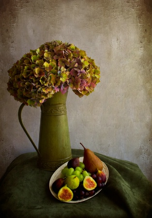 Vintage Hydrangeas and Fruit