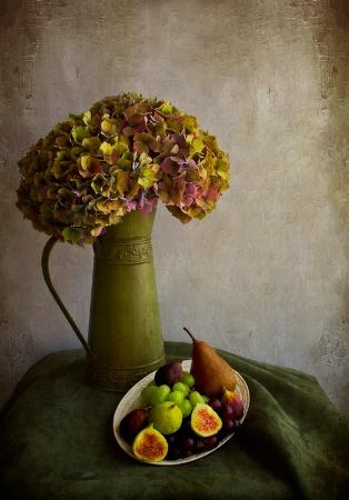 Vintage Hydrangeas and Fruit