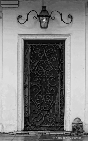 French Quarter Doorway-bw