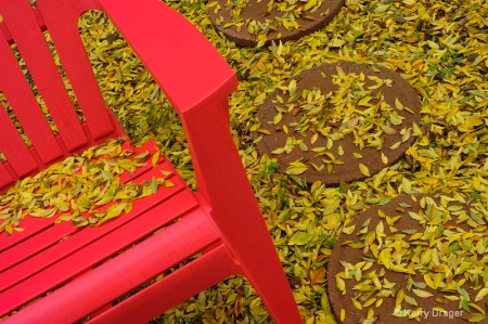 Red Chair and Fall Leaves