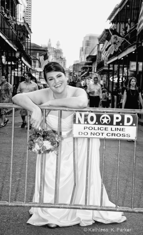 Bride on Bourbon Street--destination wedding nola