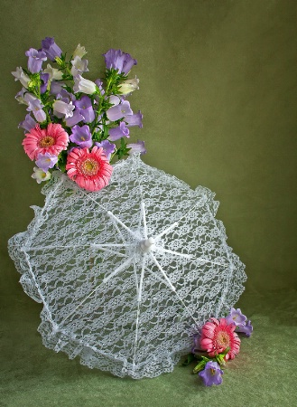 Summer Parasol and Flowers