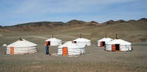 Our camp in the Gobi Desert