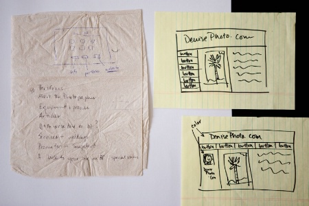 First sketches of websites