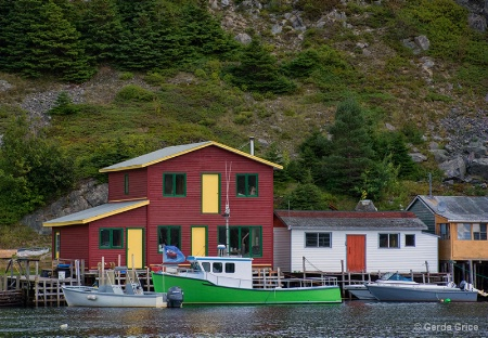 Colourful Fishing Stages, Newfoundland
