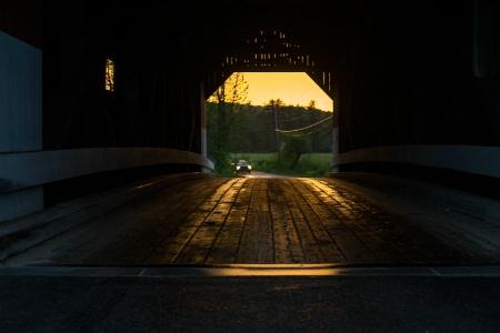 Covered Bridge at Sunset