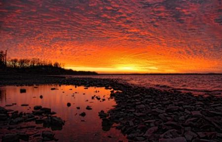 A Fiery Sky's Reflection