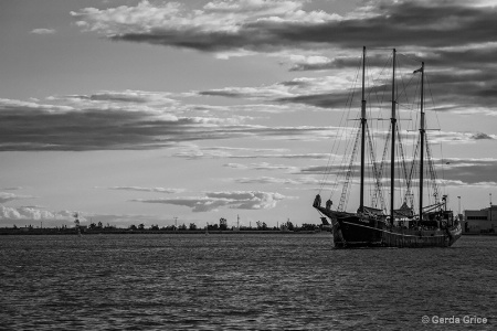 Tall Ship and Dark Clouds