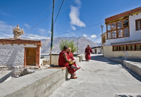 Monks At Diskit Monastery