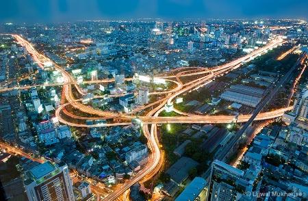 Bangkok -Traffic Light Trail