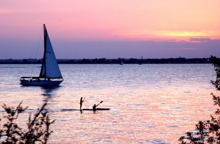 Sailboat & Rowers