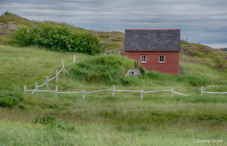 Red House Behind a White Fence, NL