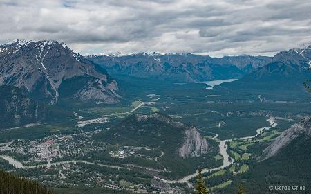 Looking Down from Sulphur Mountain, Alberta