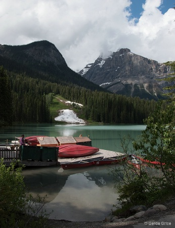 Boats and Reflections in Emerald Lake, AB