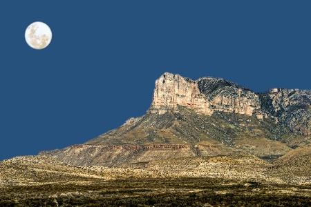 Guadalupe Peak And The Moon