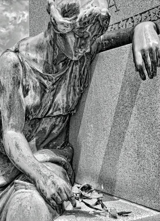Grief in Bronze: Cemetery Statue