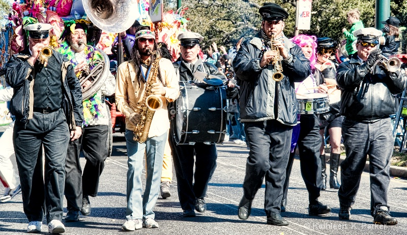 Marching musicians