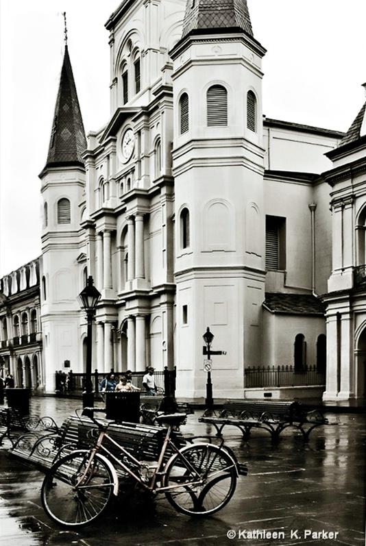 Bike in Rainy Jackson Square, New Orleans