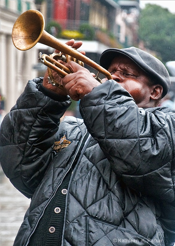 Rainy DayTrumpeter in Jackson Square