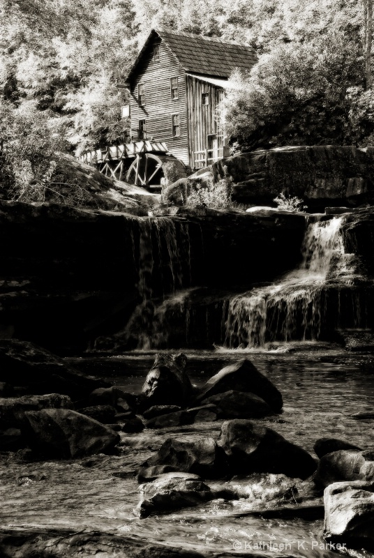 Grist Mill Babcock State Park in Black and White,
