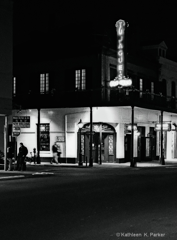 Tujaque's at Night, bw