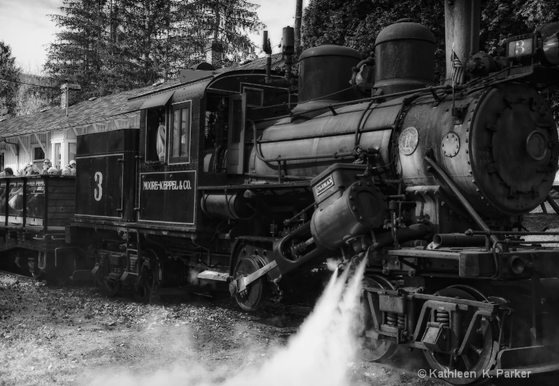 Old Number 3, Climax Locomotive, black and white