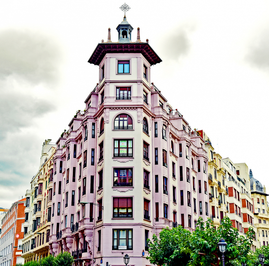 Οld architecture profile.Milbao, Spain.