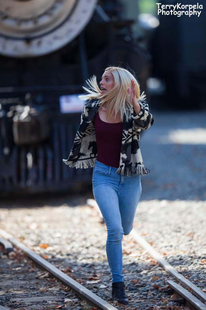 Blonde Running From Train