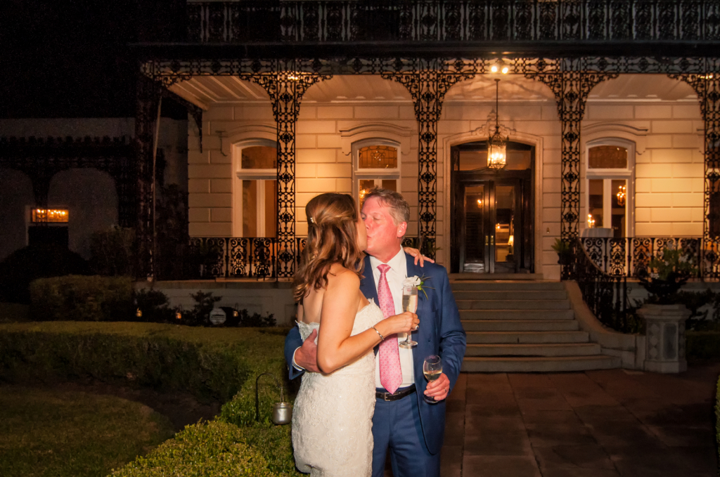 Bride and Groom Outside of New Orleans Venue