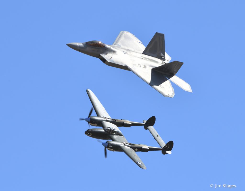 Heritage Flight: F-22 and P-38