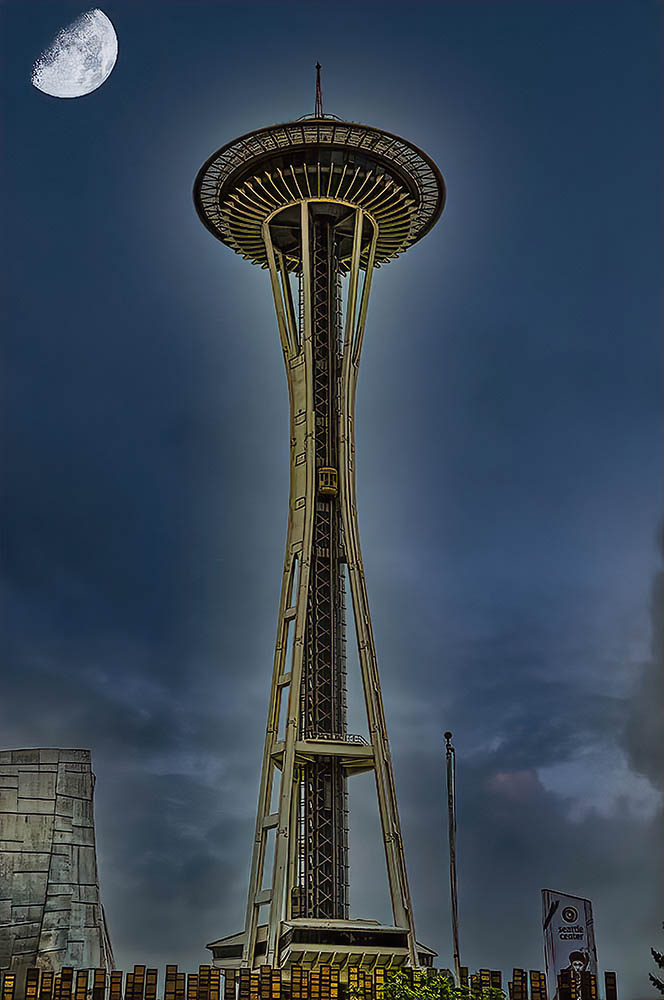 Space Needle By Night