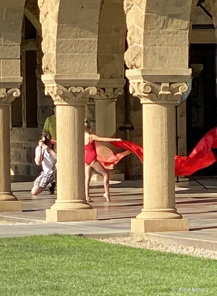 Flowing Red Scarf Ballet