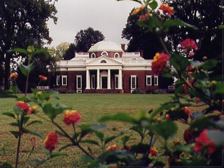 Monticello framed by foliage.